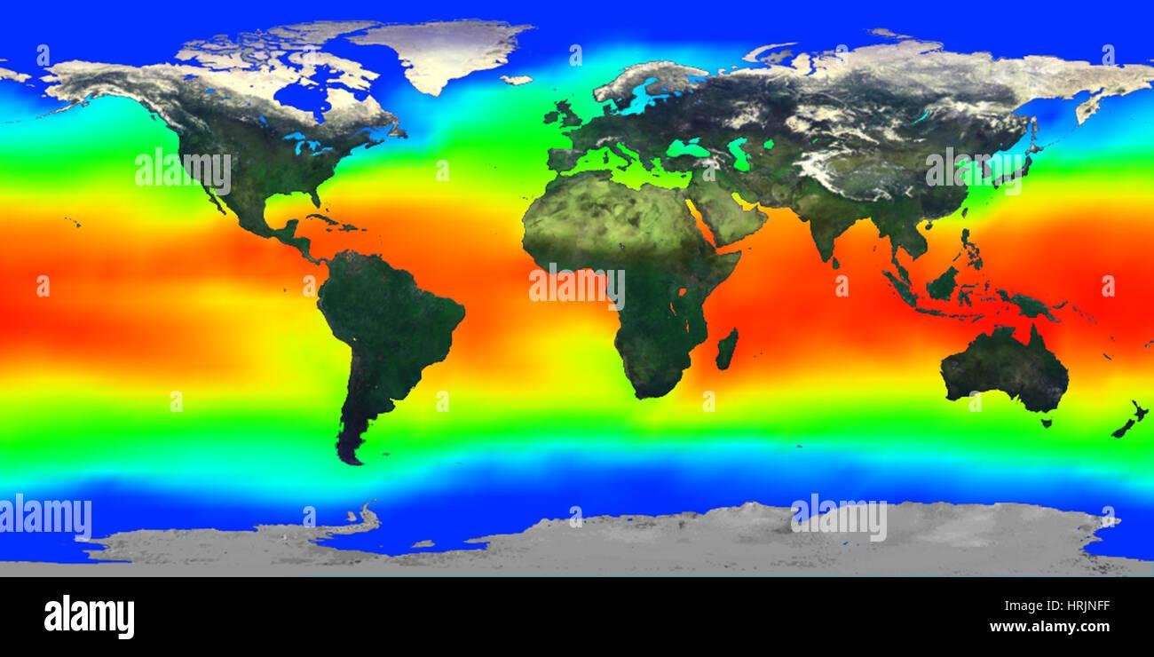 Globale Temperatur der Meeresoberfläche, der 1990er Jahre Stockbild