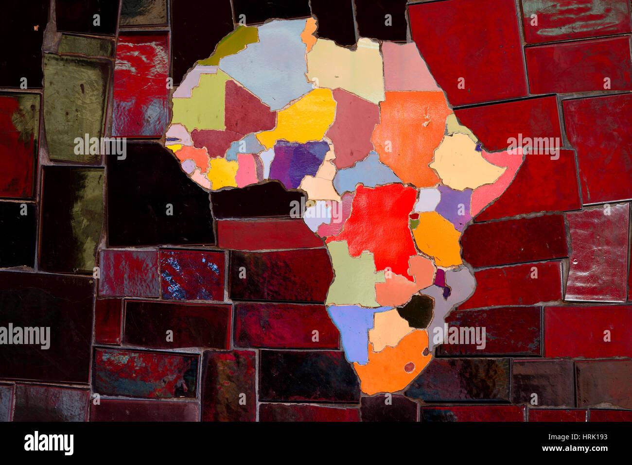 Bild von Fliesen, afrikanischen Kontinent, geflieste Treppe Escadaria Selaron, Künstler Selaron, Rio De Janeiro, Stockbild