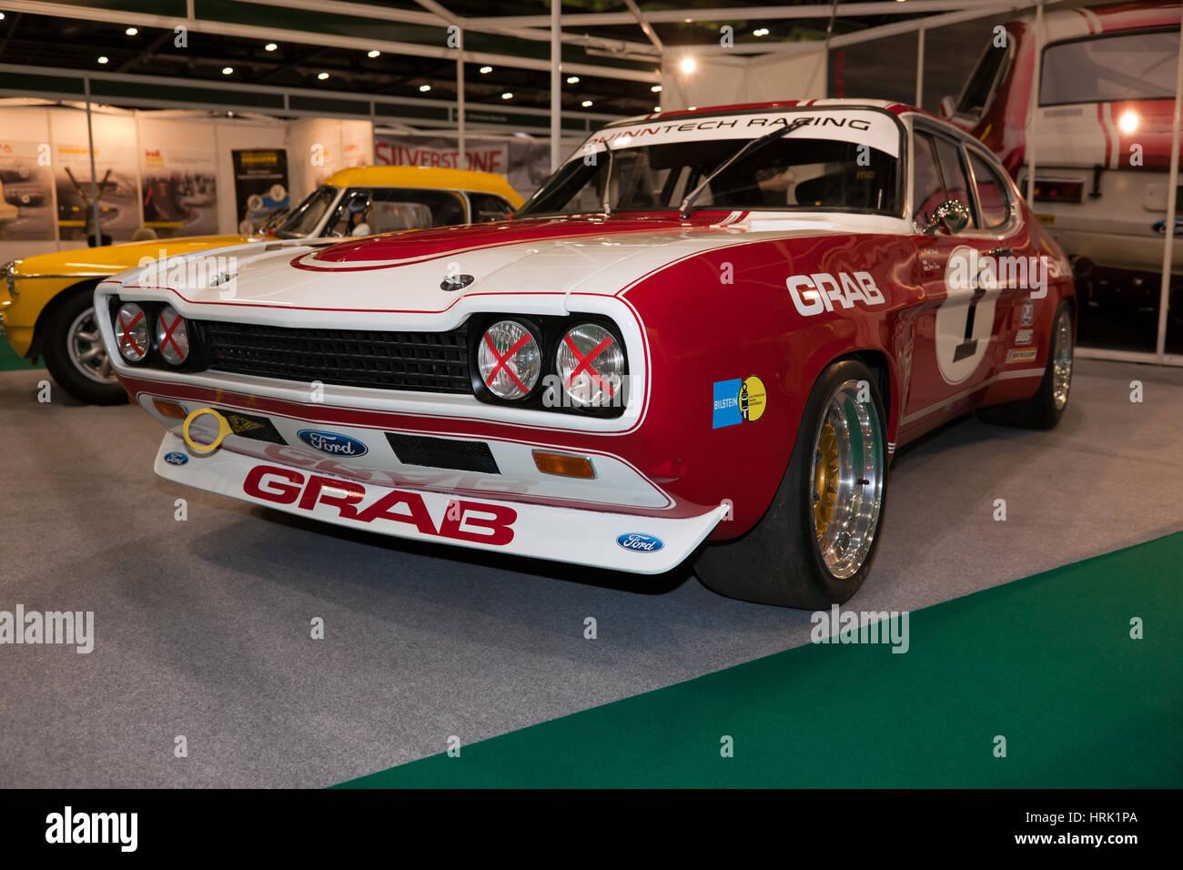 Ein Rennen vorbereitet 1972, Ford Capri RS2600 Tourenwagen im historischen Motorsport International 2017 Stockbild