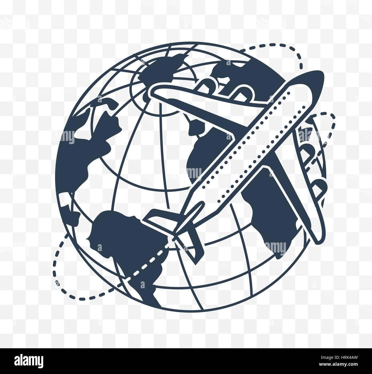 Symbol-Silhouette eines Flugzeugs auf der Hintergrund-Erde Stockbild