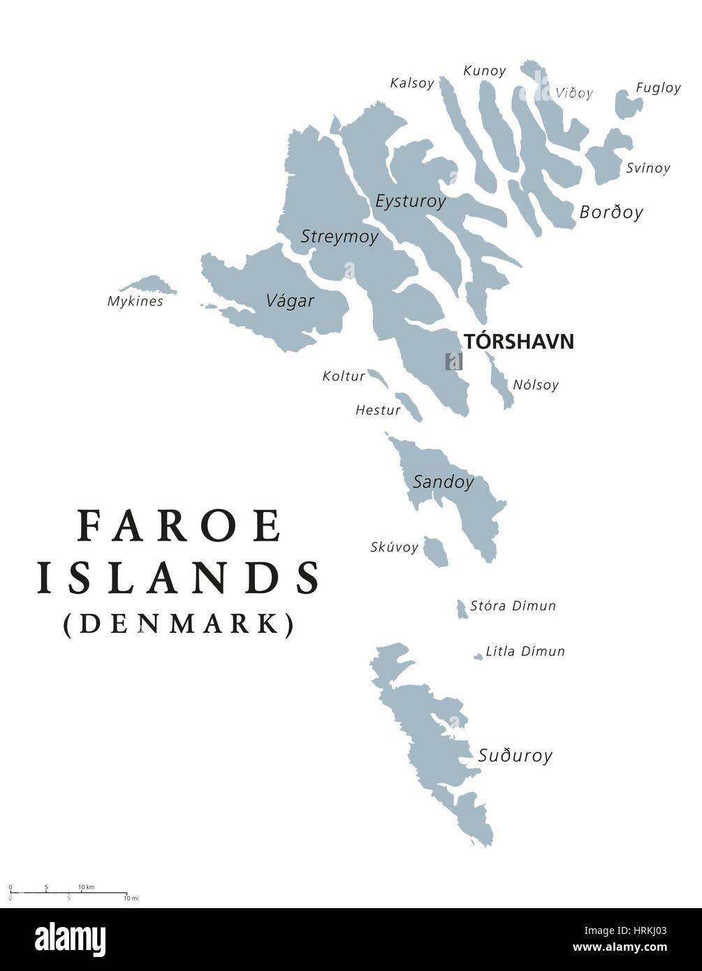Faroer Inseln Politische Karte Mit Hauptstadt Torshavn Faroer