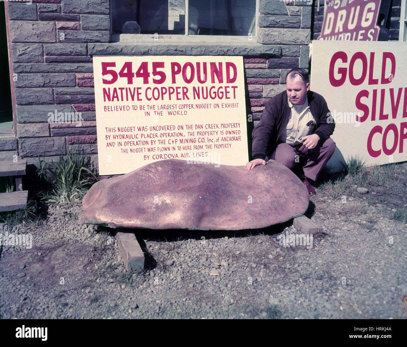 Riesige Kupfer Nugget, historische Stockbild