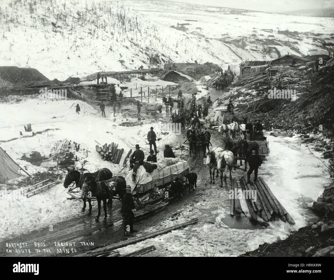 Gold And Silver Mining In Palestine Mail: Klondike-Goldrausch, 1898 Stockfoto, Bild: 135041897