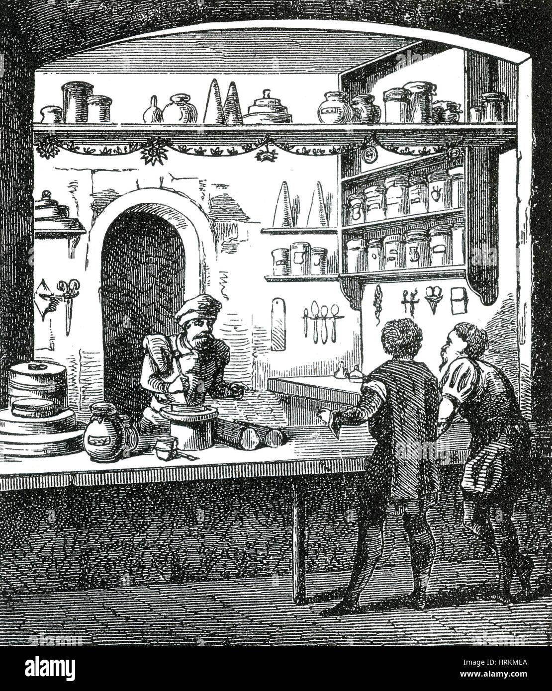 Mittelalterliche Apotheker Stockbild