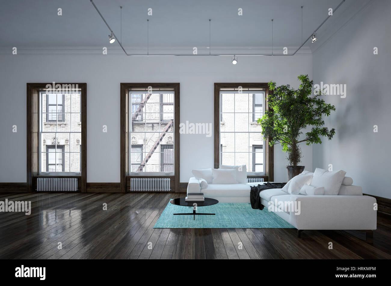 Minimalistischen modernen städtischen Wohnzimmer Interieur mit ...