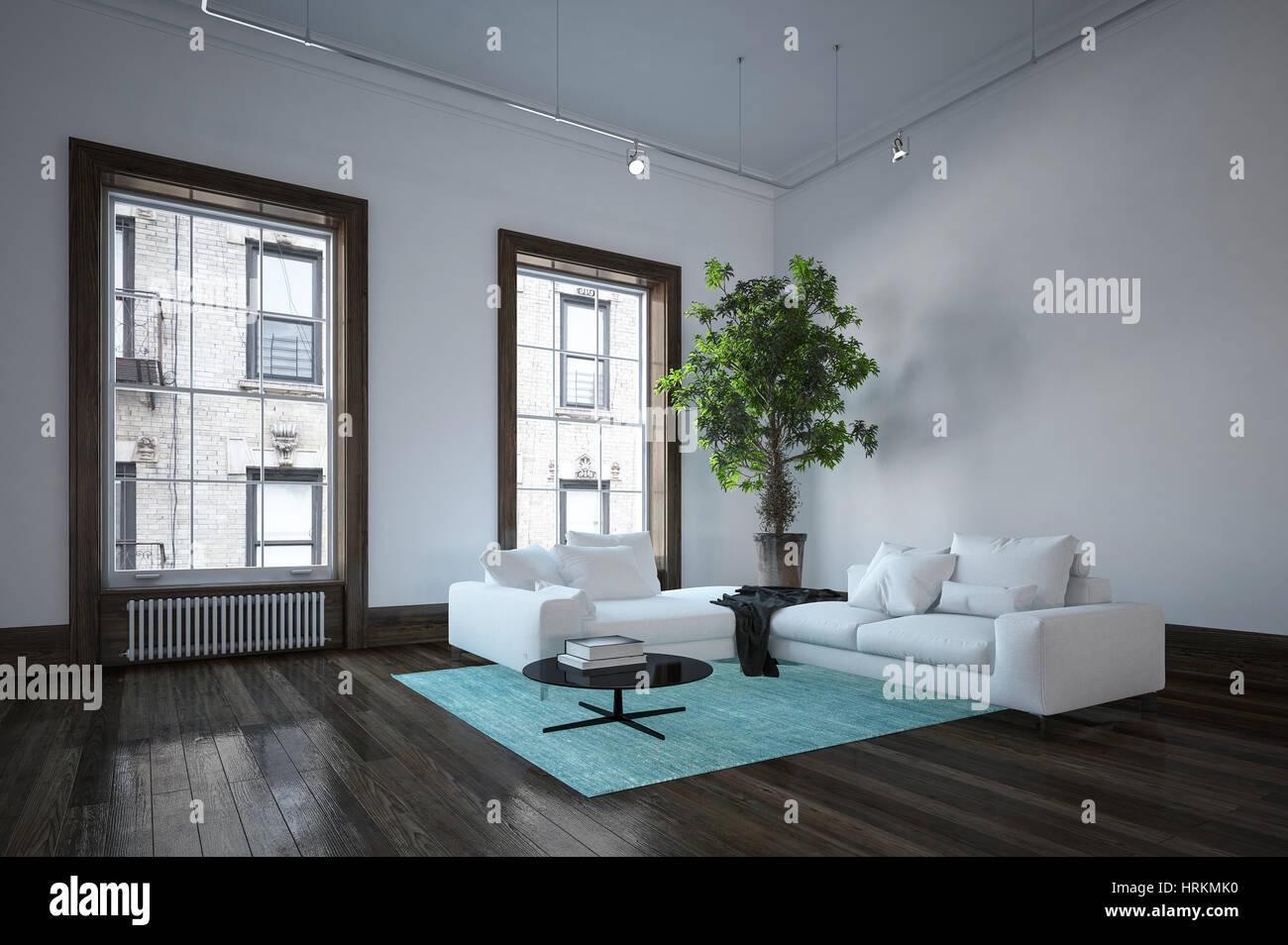 wohnung mit minimalistischem weisem interieur design new york, geräumiges wohnzimmer in stadtwohnung in der minimalistischen, Design ideen