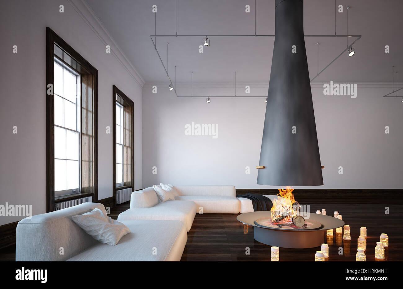 Kamin mit hängenden Kamin im Wohnzimmer mit minimalistischen ...