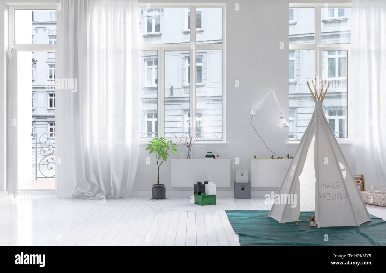 Kinderzimmer Mit Wigwam Haus Weisse Wande Boden Und Vorhange Gegen