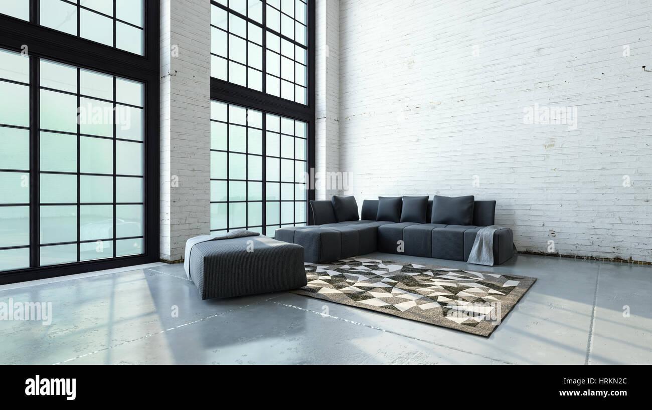 Geräumige doppelzimmer volumen wohnzimmer interieur mit