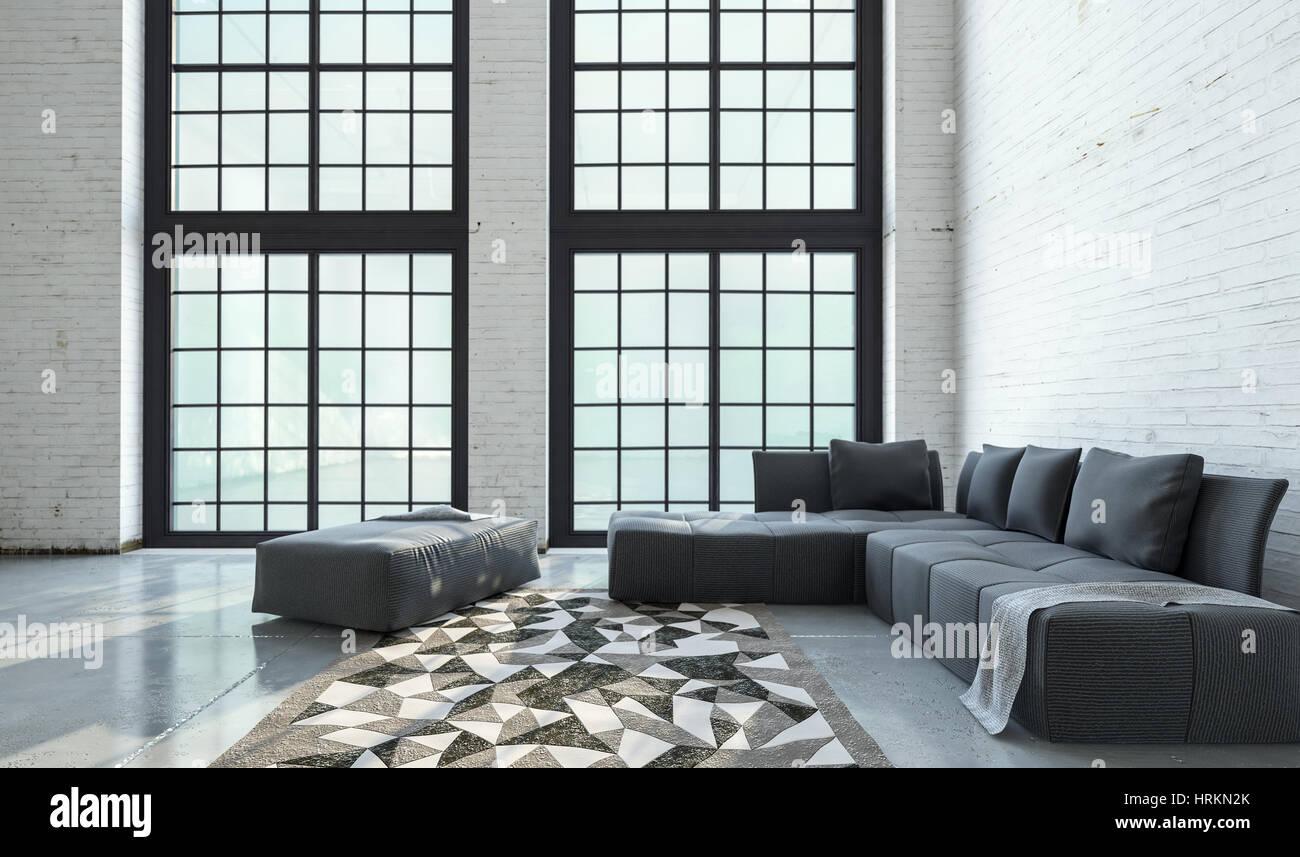 Große geräumige offene Wohnzimmer Interieur mit raumhohen Fenstern ...