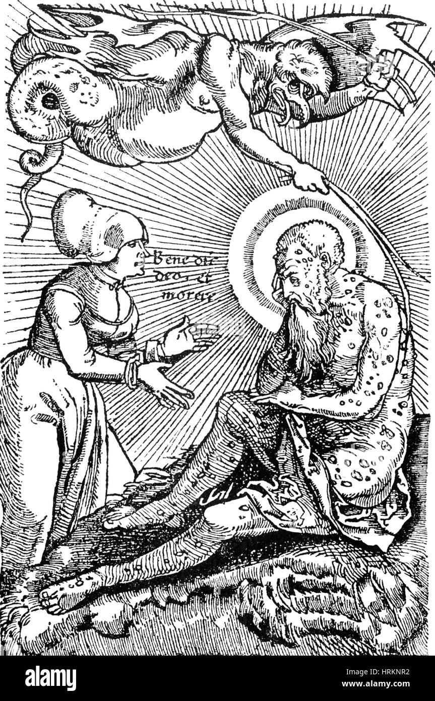Dämon an der Pest, 16. Jahrhundert Stockbild