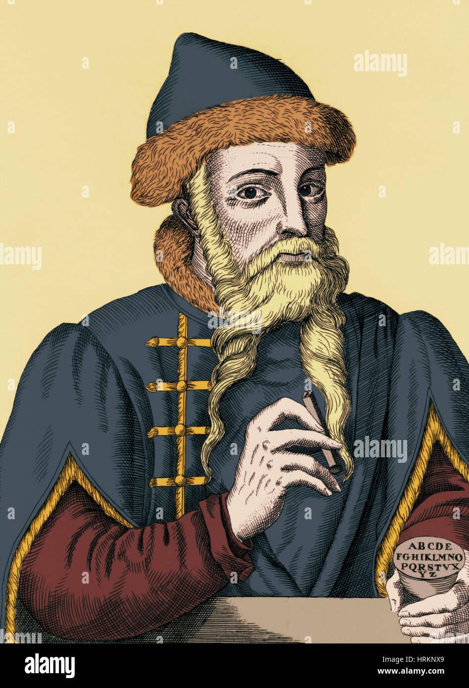 Johannes Gutenberg, deutscher Erfinder und Verleger ...