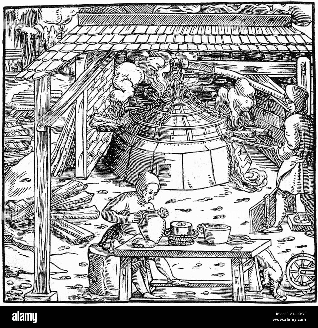 16. Jahrhundert Silber-Bergbau Stockbild