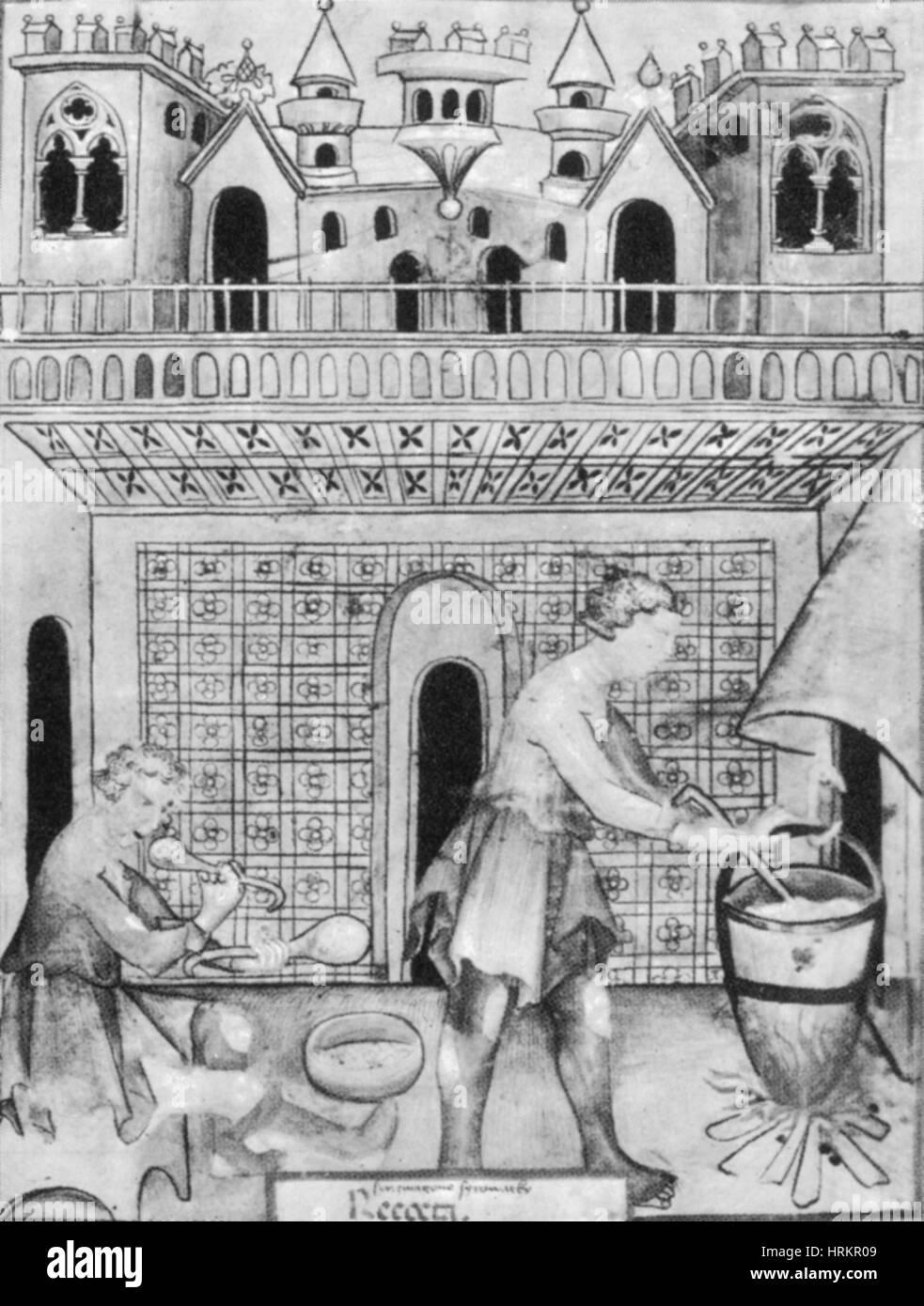 Käser, mittelalterliche Handwerker Stockbild