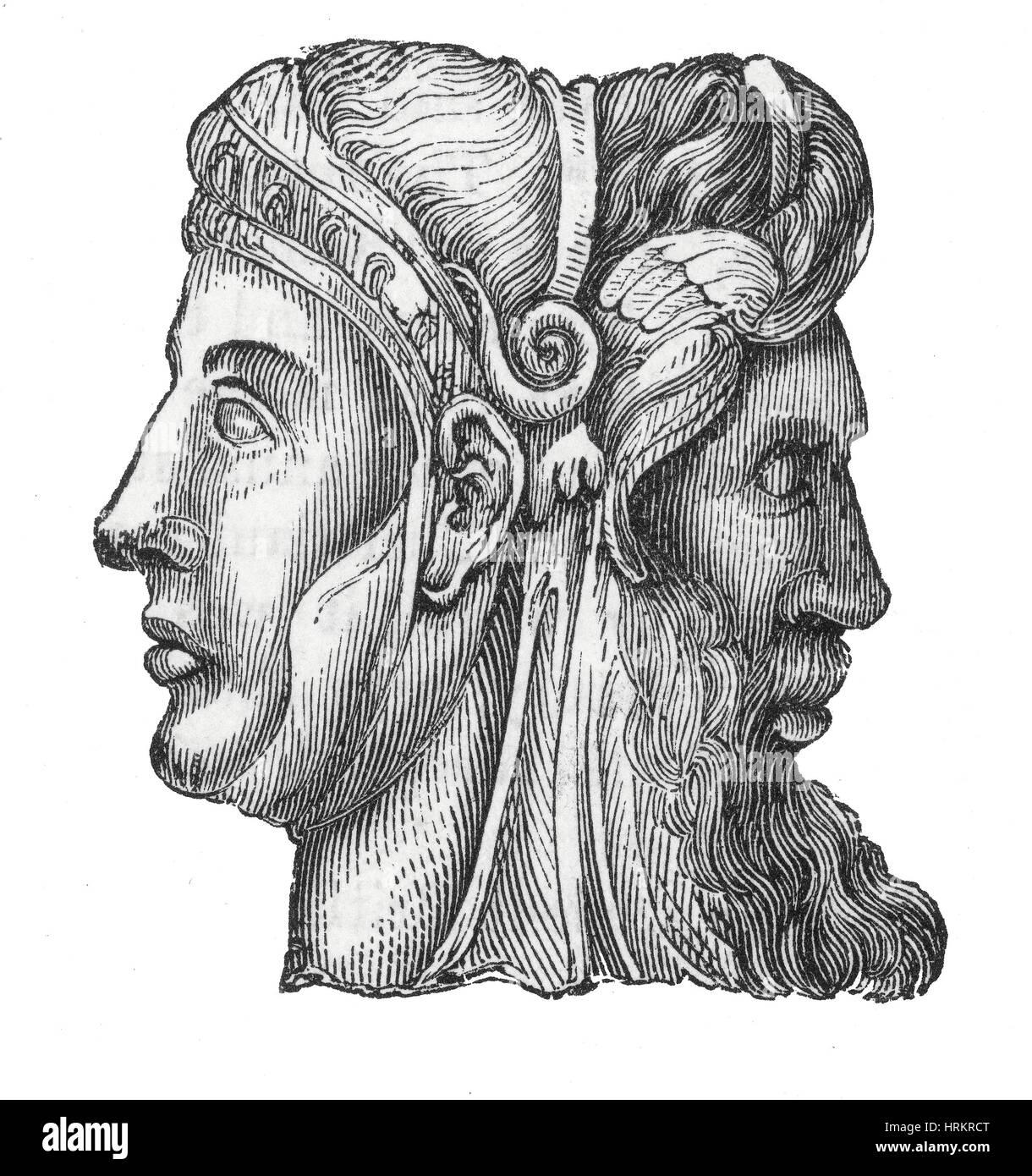 Janus, römischer Gott Stockbild
