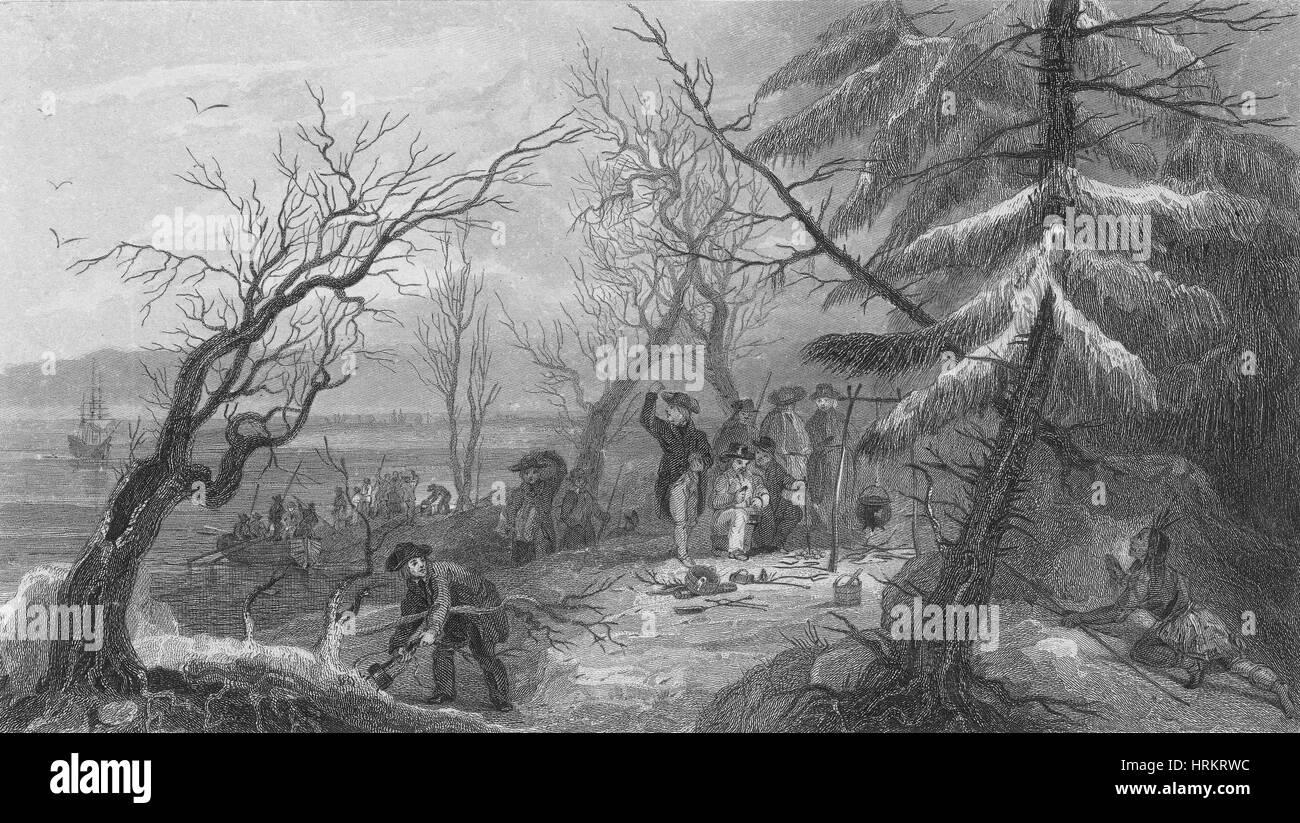 Landung der Pilger auf Plymouth Rock, 1620 Stockbild