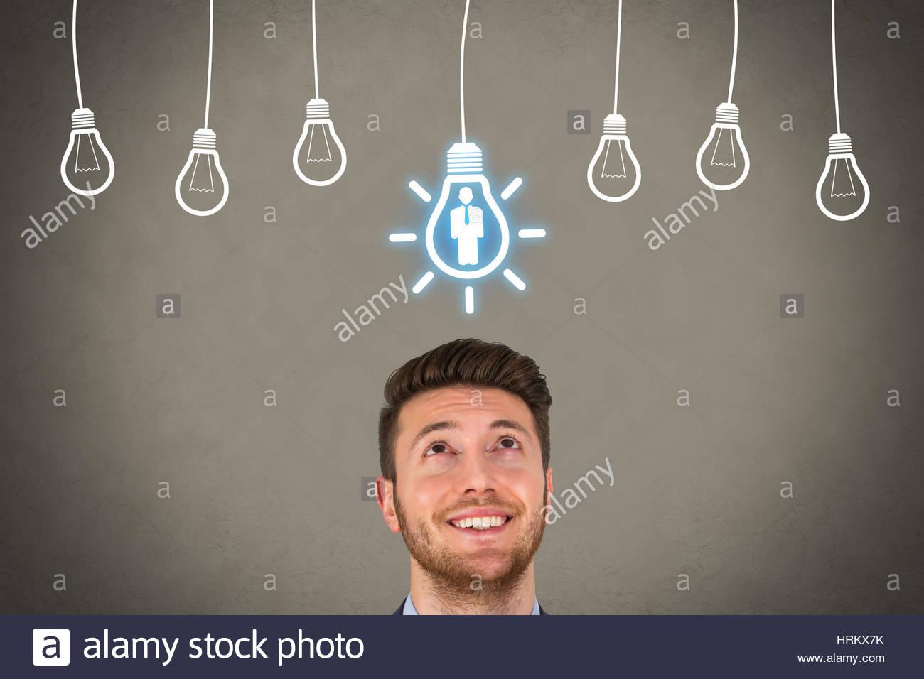 Rekrutierung und Idee über menschliche Kopf Stockbild