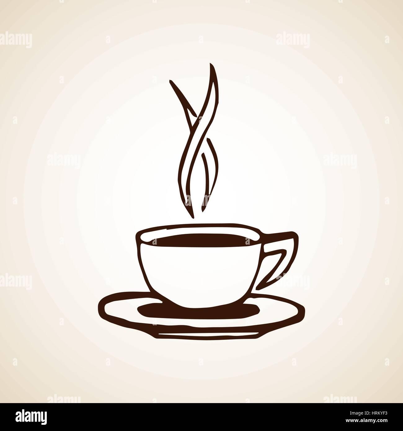Handskizze Gezeichnete Kaffeetasse Vektor Abbildung Bild