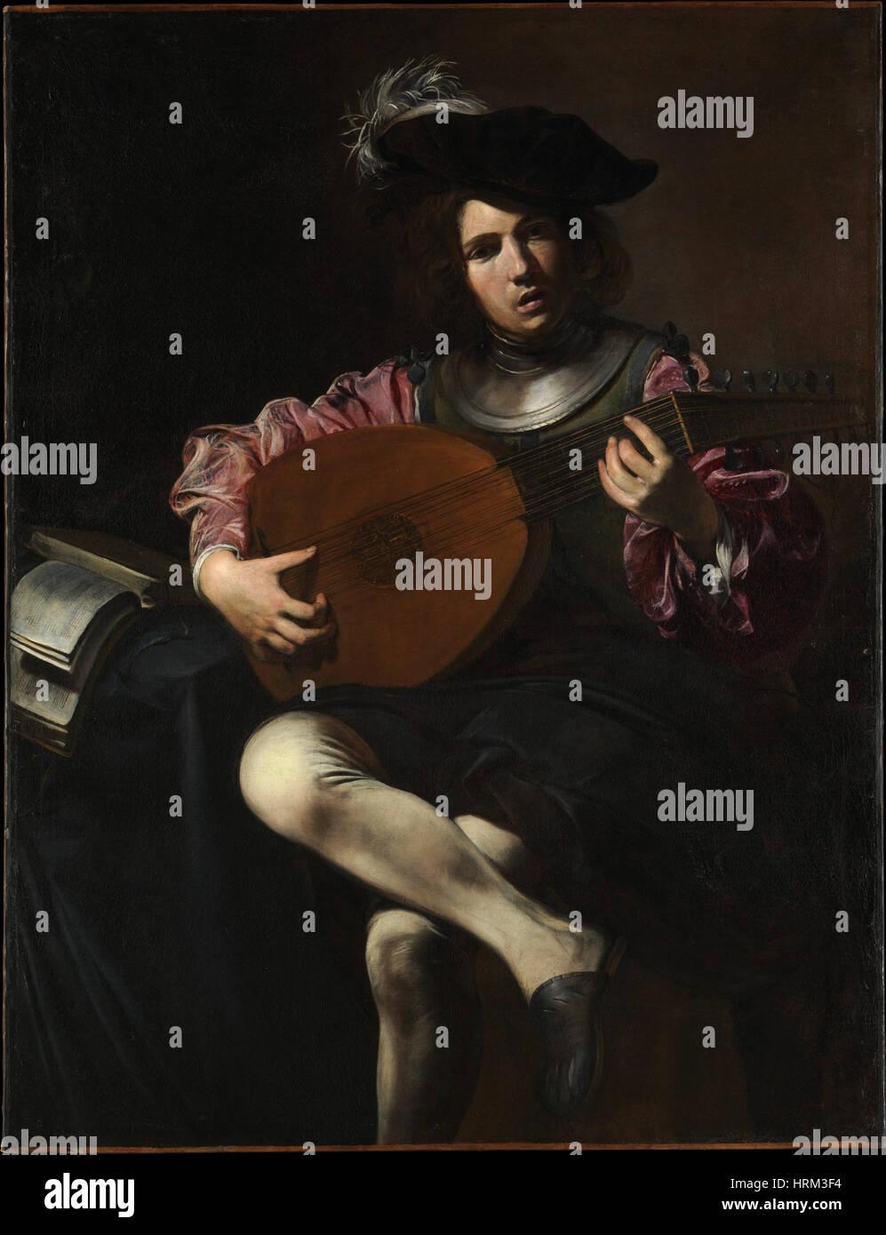 Lautenspieler von Valentin de Boulogne Stockbild