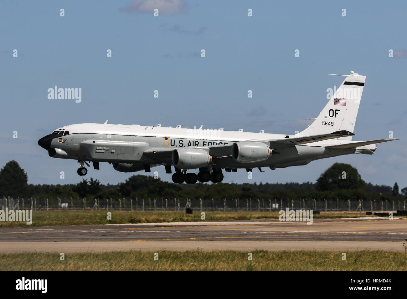 Vereinigte Staaten Luftwaffe Boeing RC-135 Rivet Joint - RAF Mildenhall Stockbild