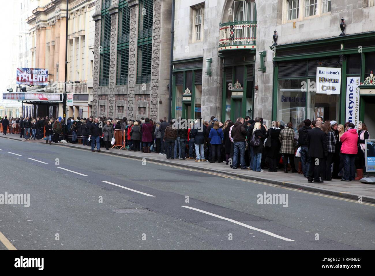 Britain Got Talent Castings an der Manchester Opera House. Januar 2010 Stockbild