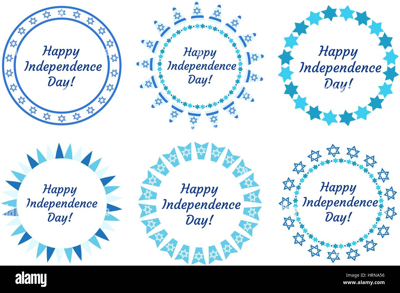 Glücklich Unabhängigkeitstag Israels Satz Runde Rahmen mit Platz für ...