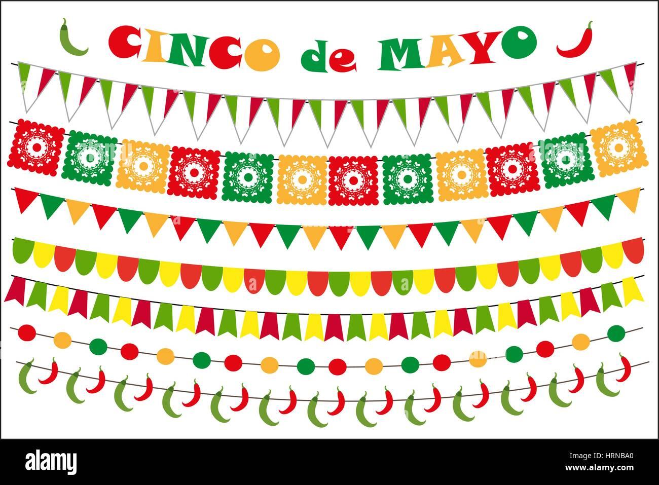 Cinco De Mayo Feier Reihe Von Farbigen Fahnen Girlanden Girlande