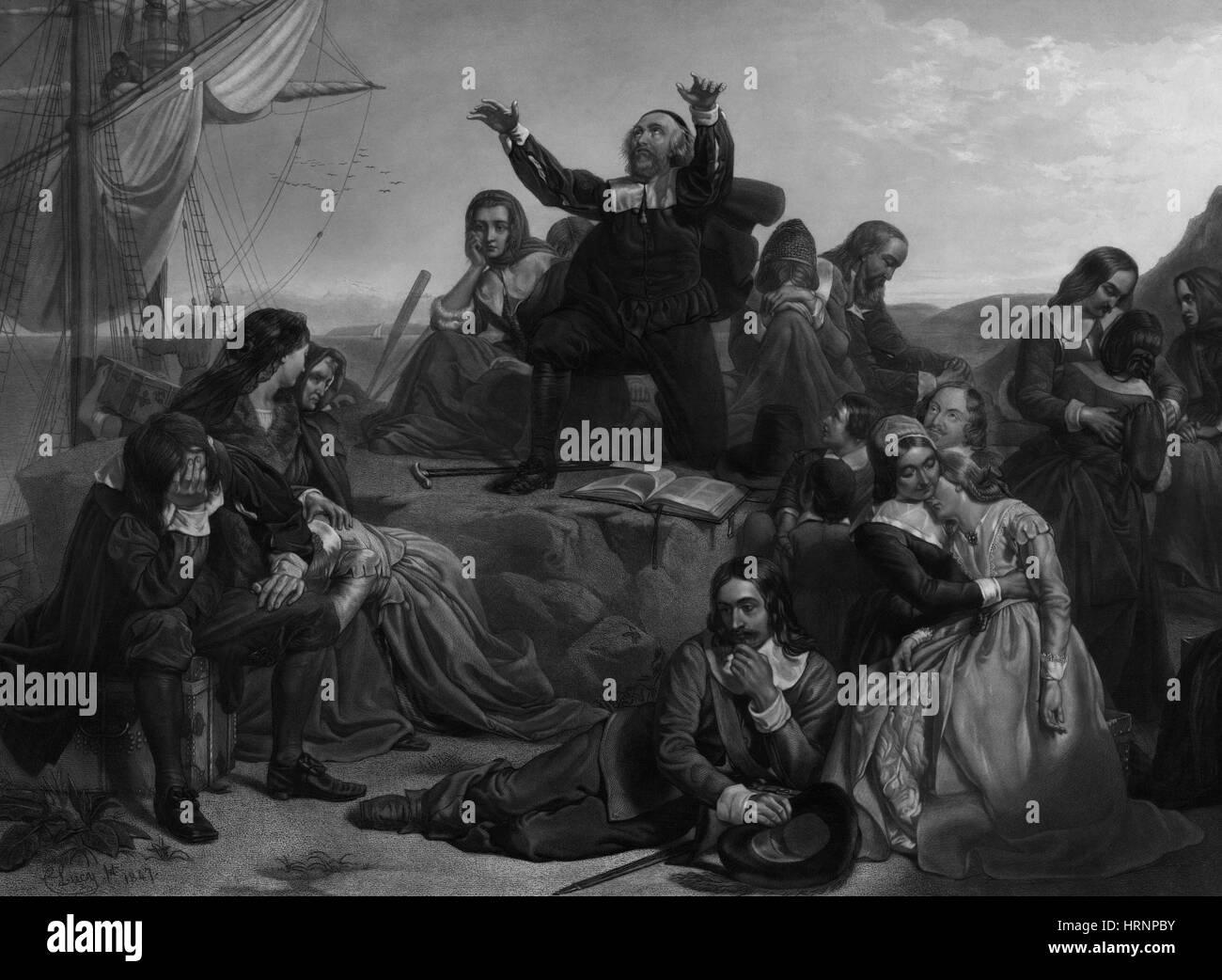 Abreise der Pilger, 1620 Stockbild