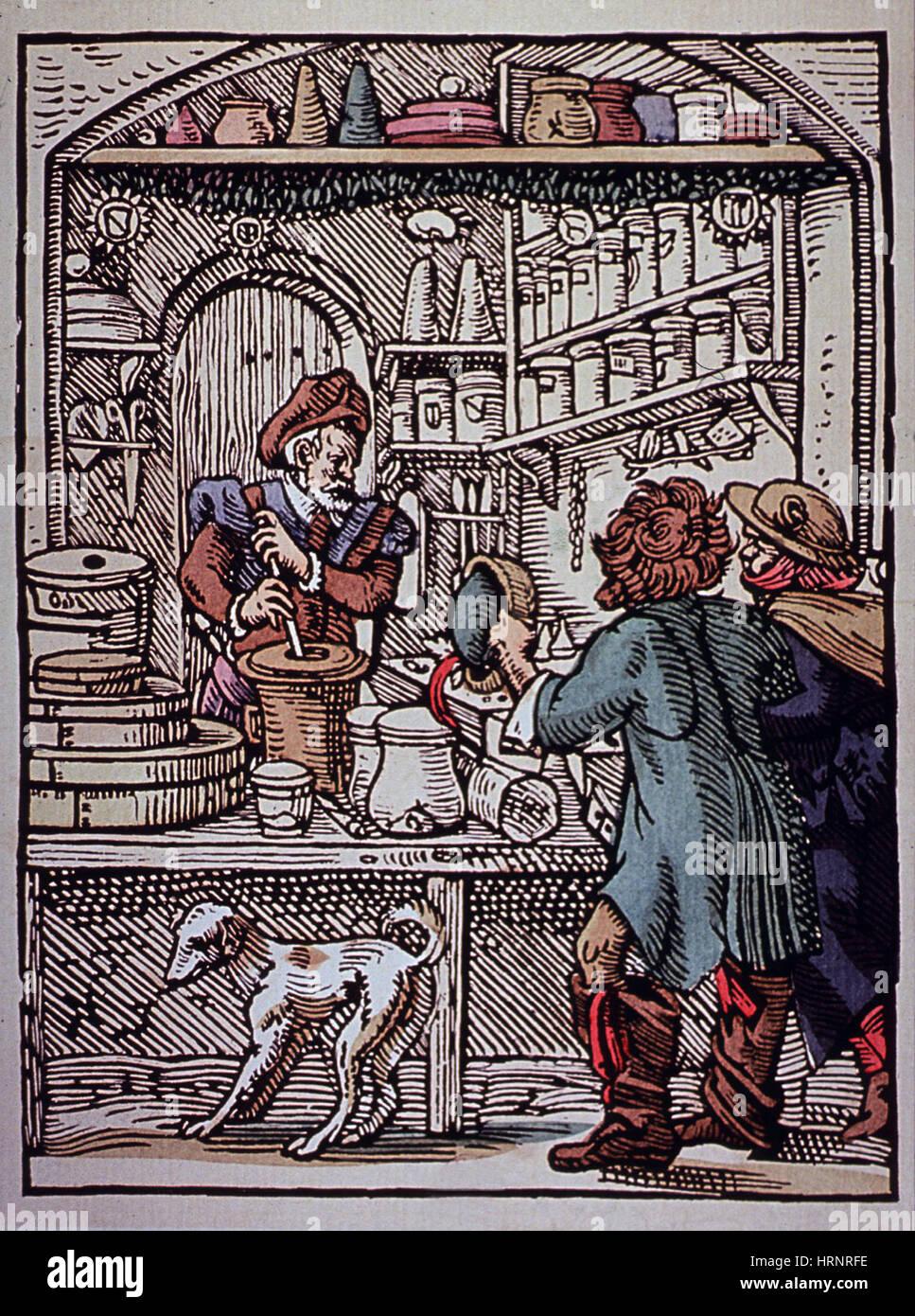 Apotheker, 16. Jahrhundert Stockbild