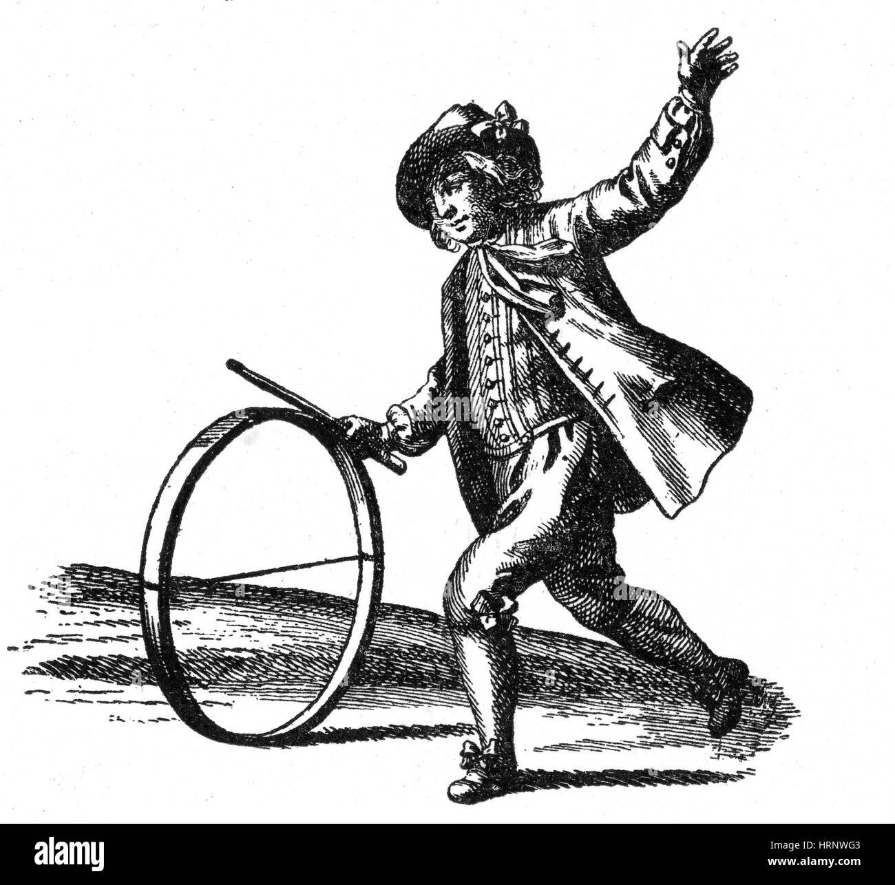 Le Jeu du Cerceau, Reifen Rollen, 18. Jahrhundert Stockbild