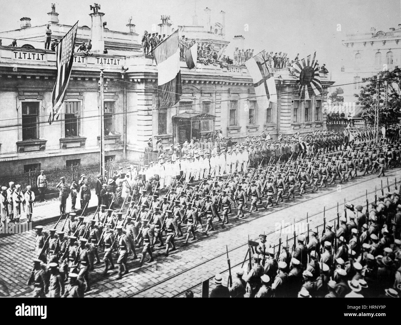 Russische Revolution, Alliierte Intervention, 1918 Stockbild
