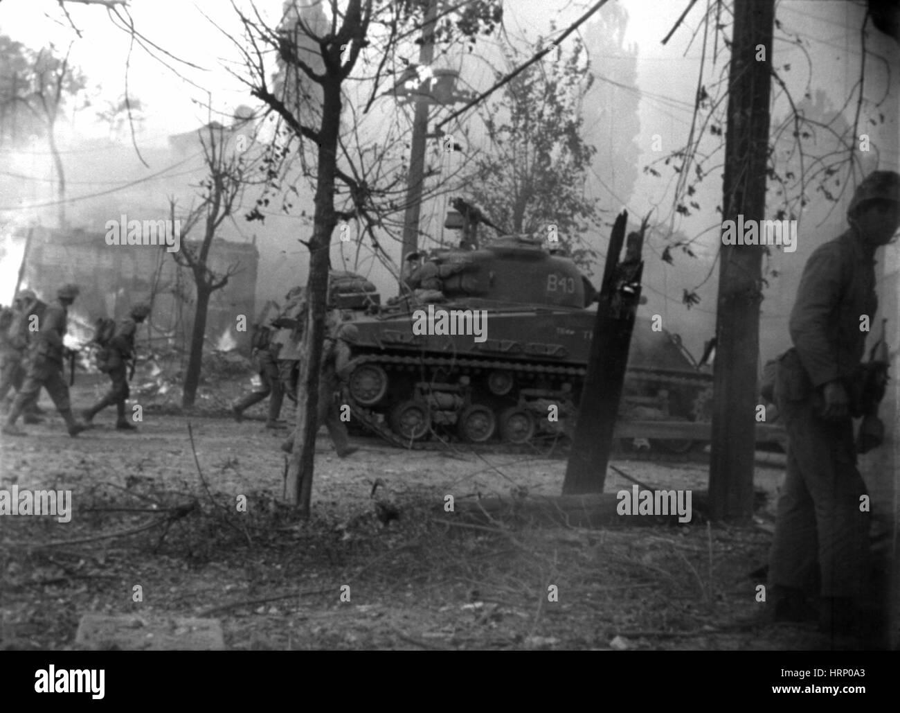 Korea-Krieg, UN-Truppen kämpfen um Seoul Stockbild