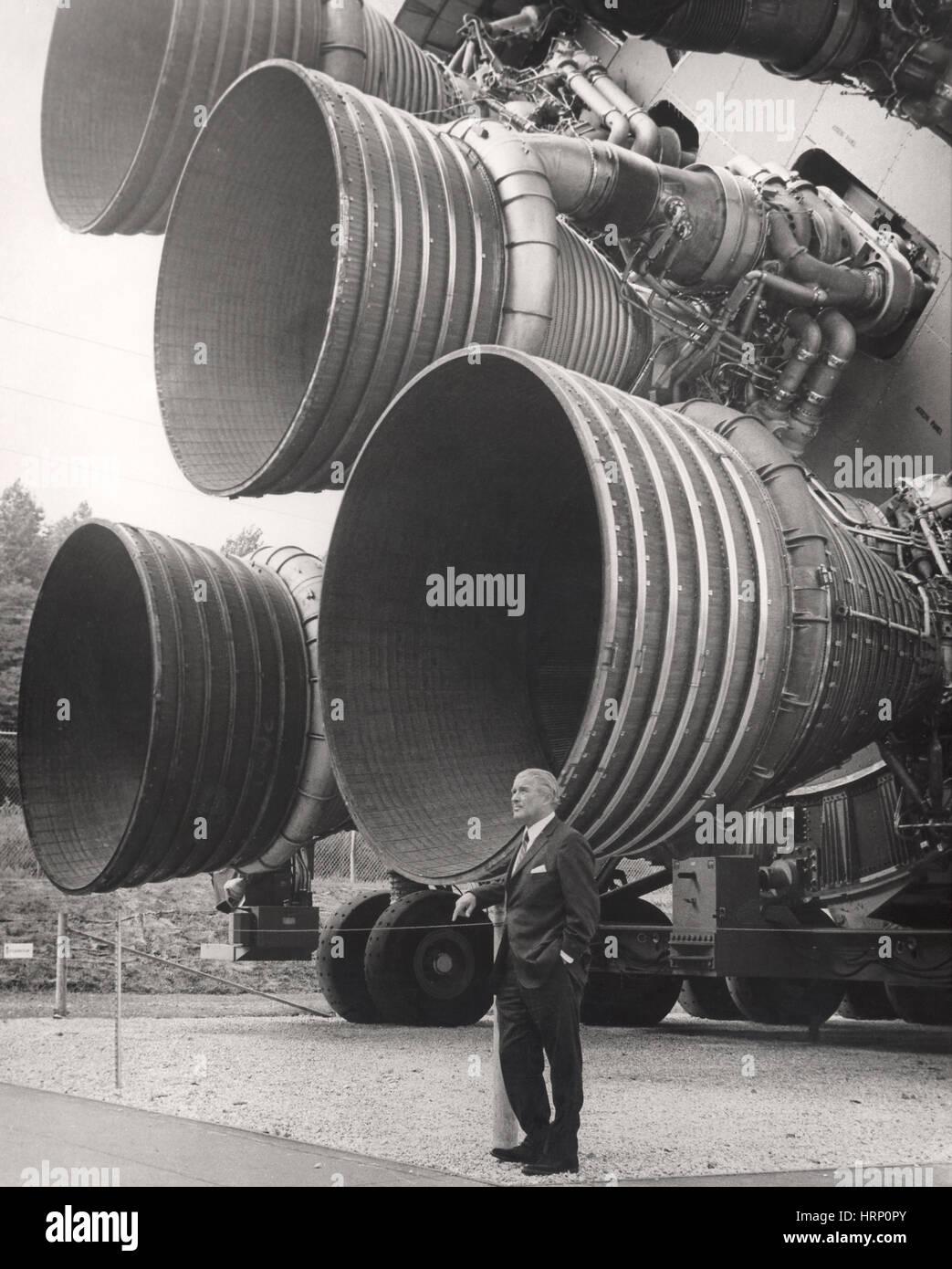Wernher von Braun, Saturn V-Rakete Stockfoto