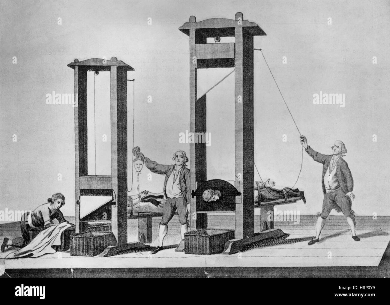Französische Revolution, Guillotine, 18. Jahrhundert Stockbild