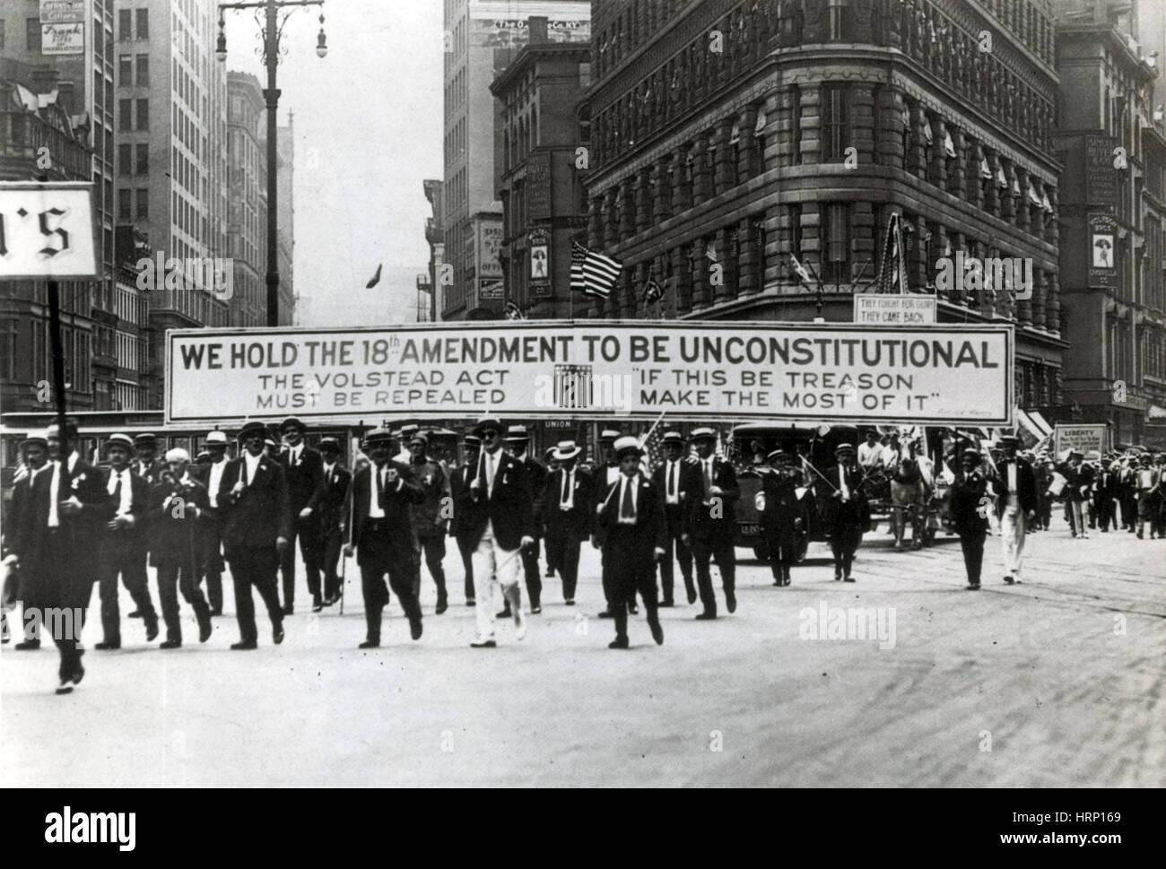 NYC, Anti-Verbot Parade, 1920er Jahre Stockbild