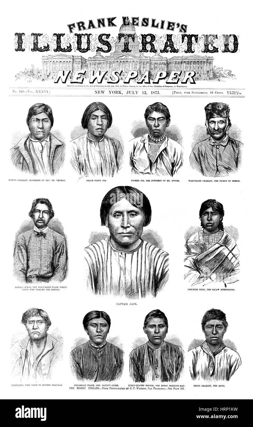 Erfassten Modoc-Indianer, 1873 Stockbild