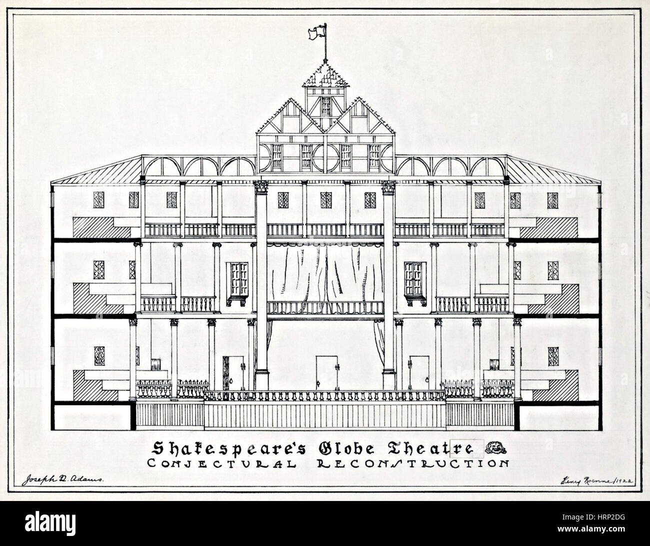 Shakespeares Globe Theatre, Wiederaufbau Stockbild