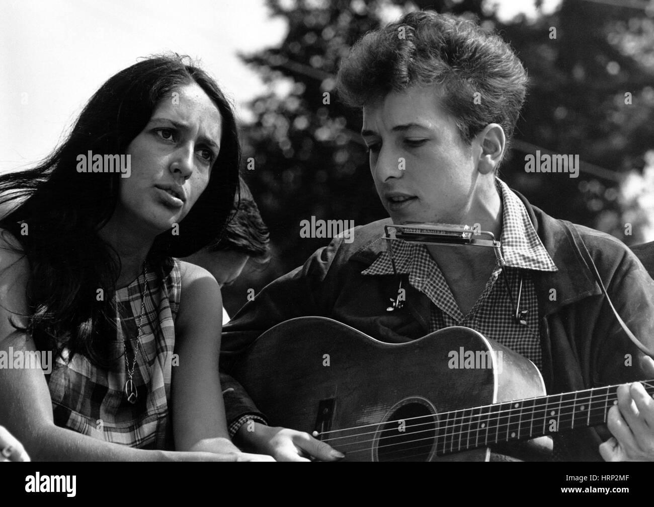 Joan Baez, Bob Dylan, Marsch auf Washington, 1963 Stockbild
