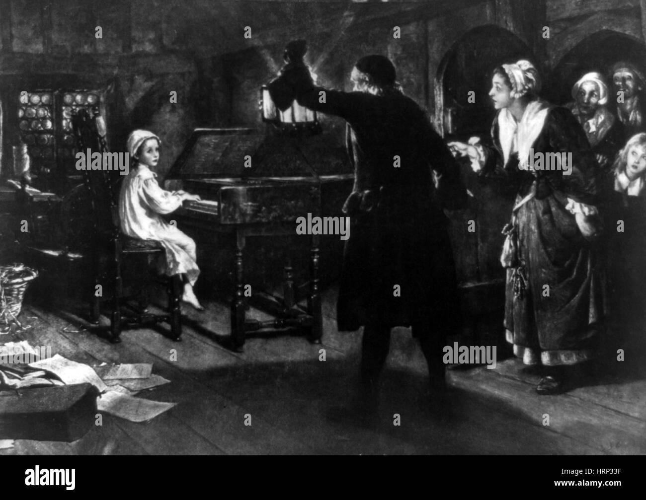 Junge George Händel spielen Cembalo Stockbild
