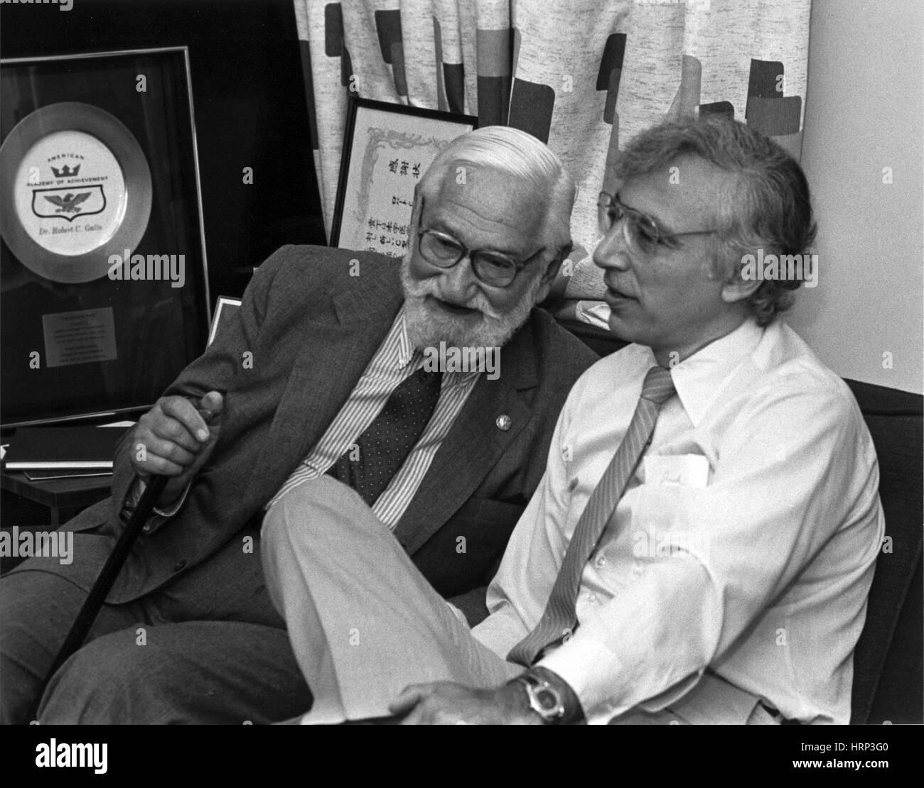 Albert Sabin und Robert Gallo, 1985 Stockbild