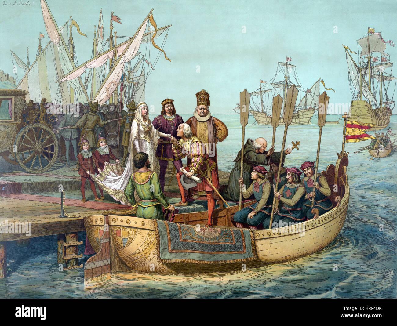 Atemberaubend Erste Reise von Christoph Kolumbus, 1492 Stockfoto, Bild @OO_18