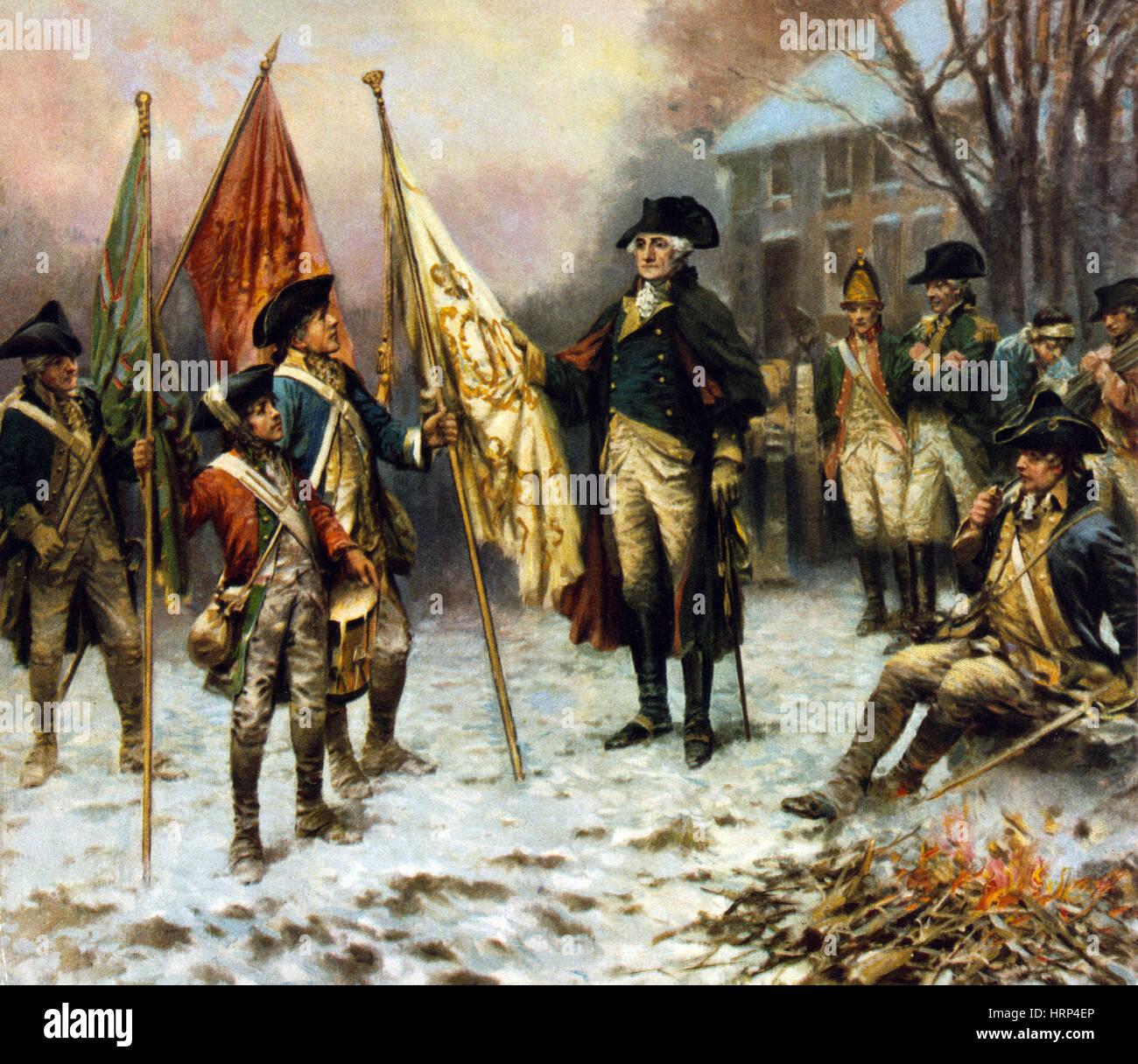 Washington, inspizieren erbeuteten Flagge, 1776 Stockbild