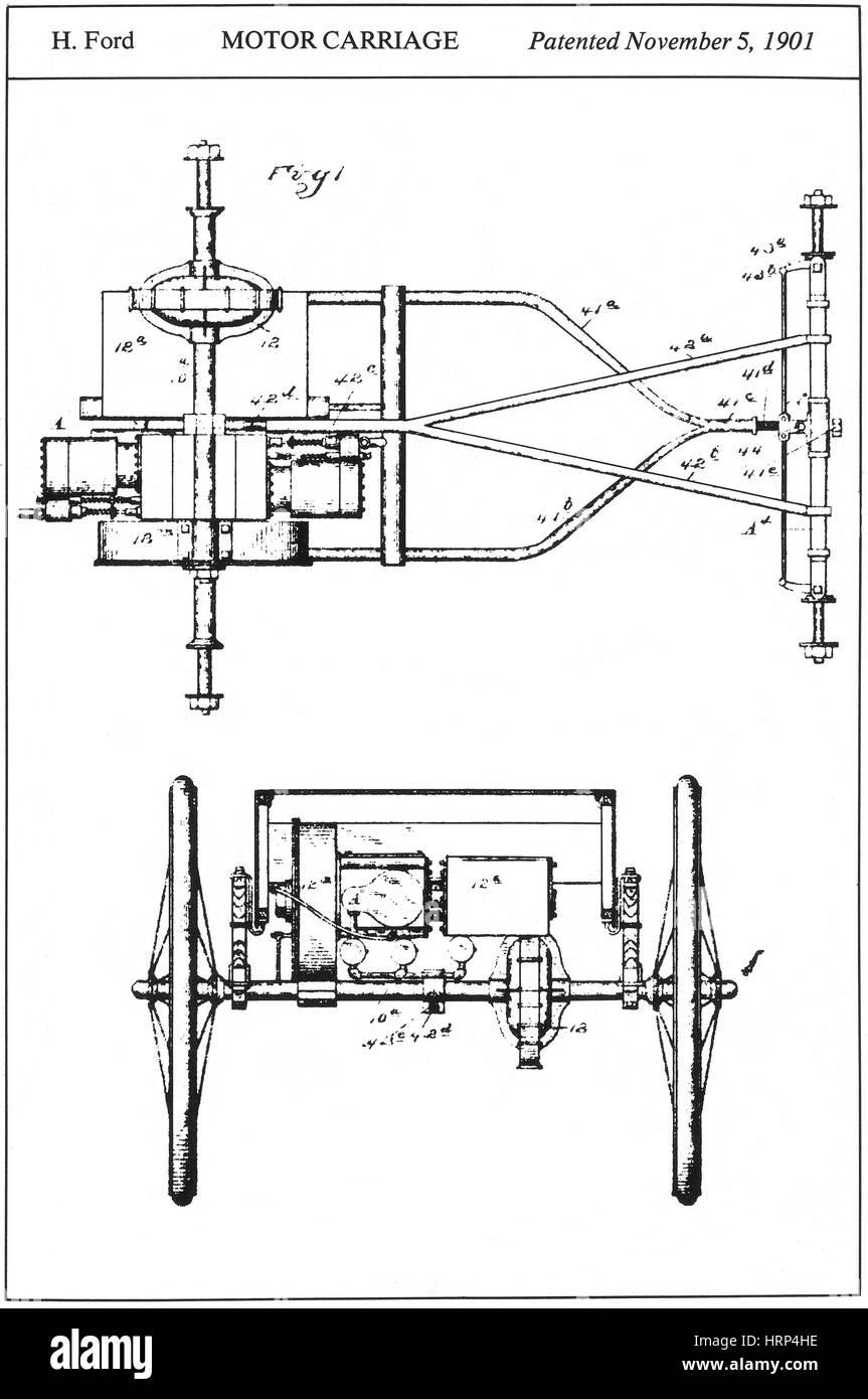 Henry Fords Motorkutsche Patent, 1901 Stockbild