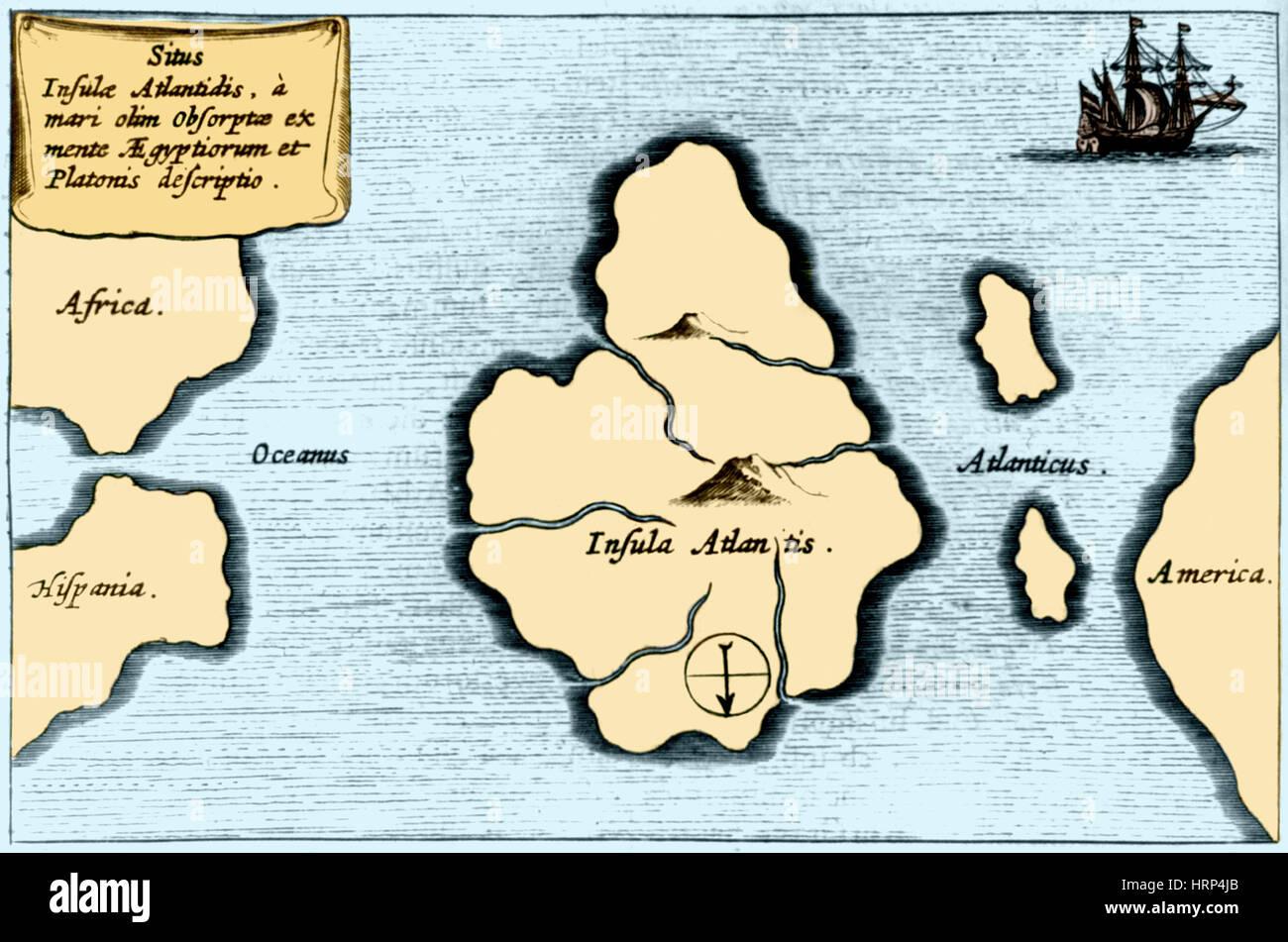 Verlorenen Kontinent Atlantis, 1665 Stockbild
