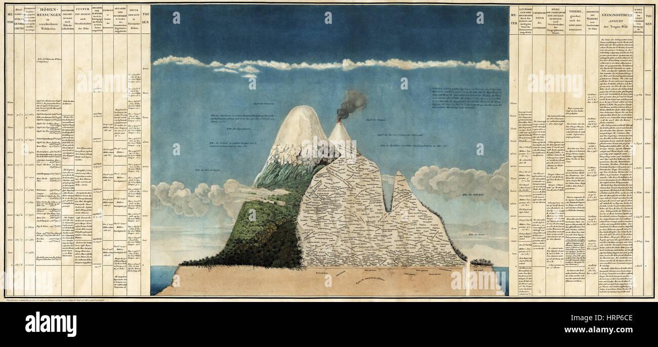 Alexander von Humboldts Chimborazo Karte, 1807 Stockbild