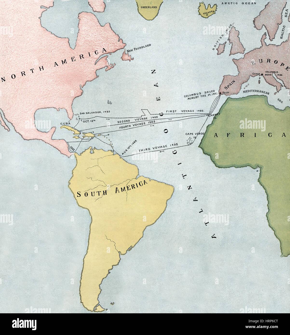 Ganz und zu Extrem Reisen von Christoph Kolumbus 1495-1502 Stockfoto, Bild: 135097672 #BB_91