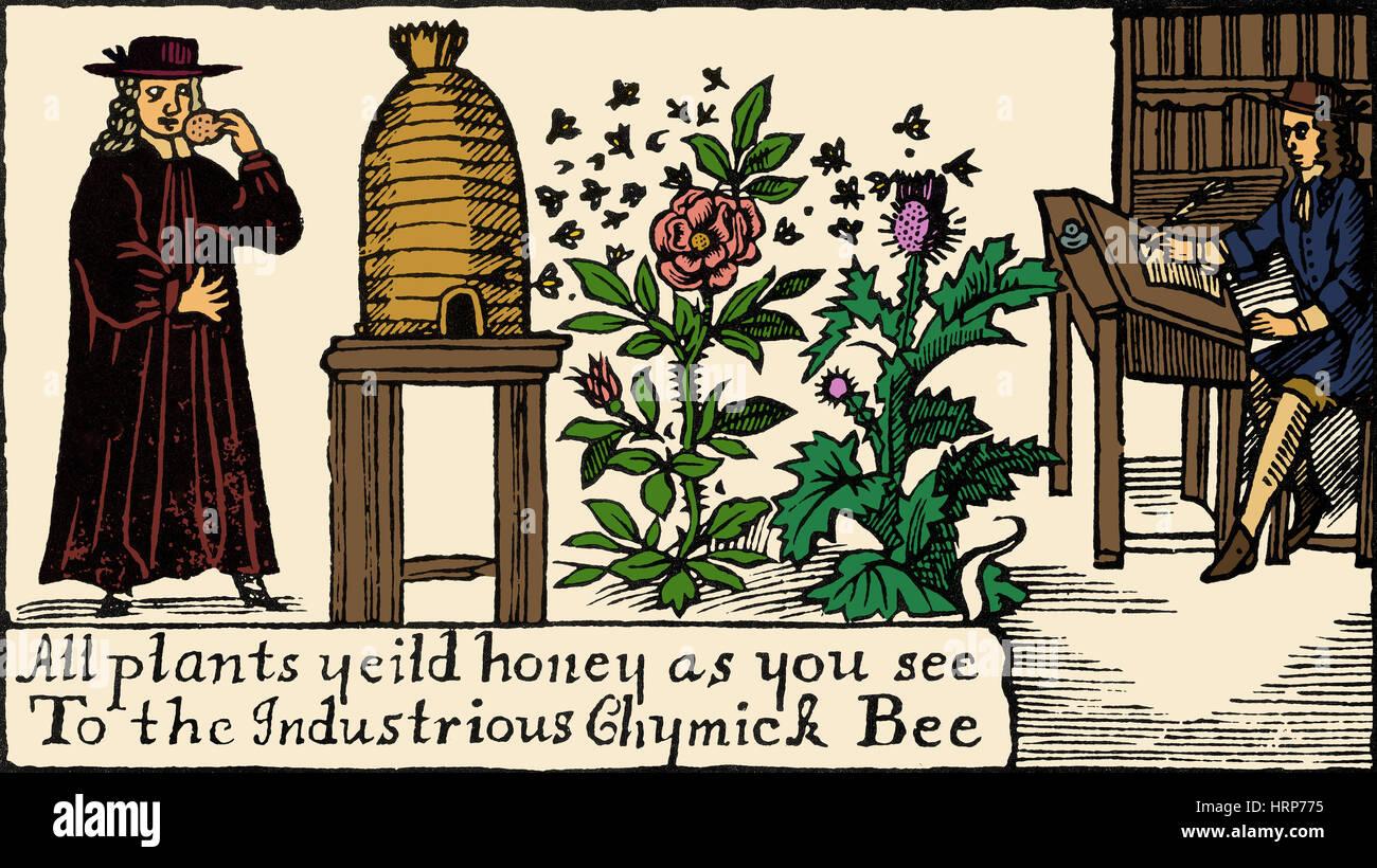 Imkerei, Bienenzucht, 18. Jh. Stockbild