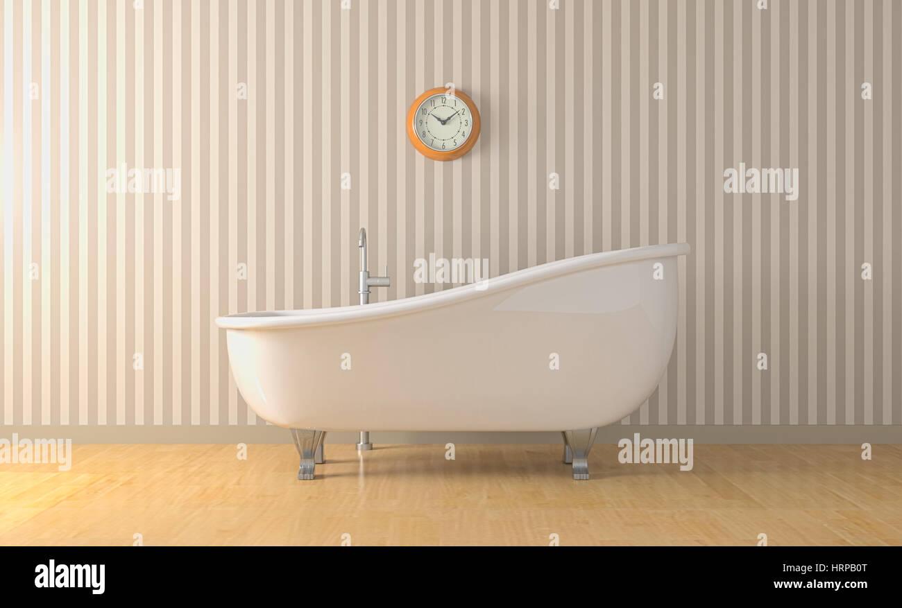 Uhr Für Badezimmer, ein badezimmer mit badewanne vintage und eine wand uhr (3d render, Design ideen