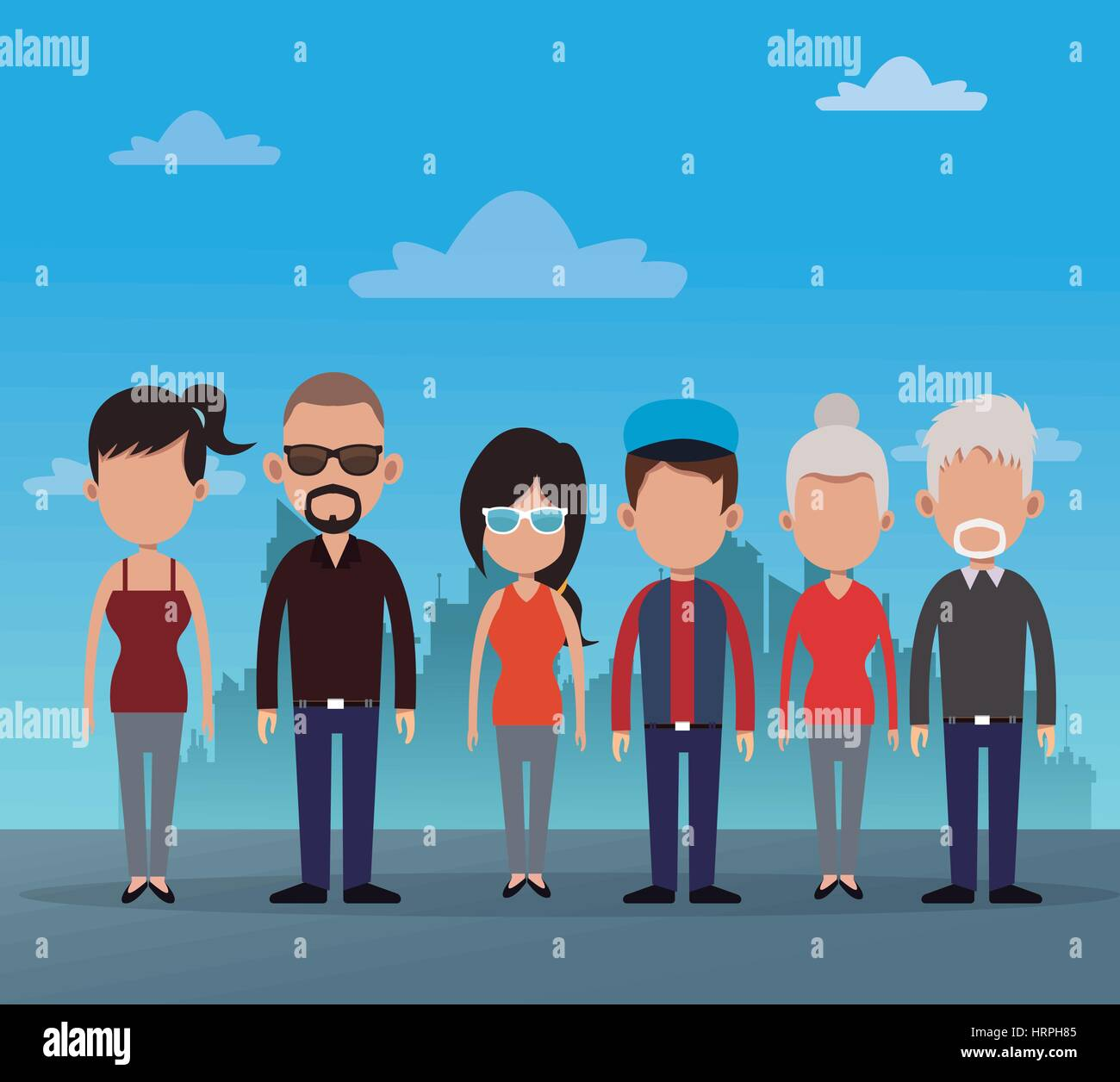 Gruppe Menschen Gemeinschaft soziale Stock Vektor