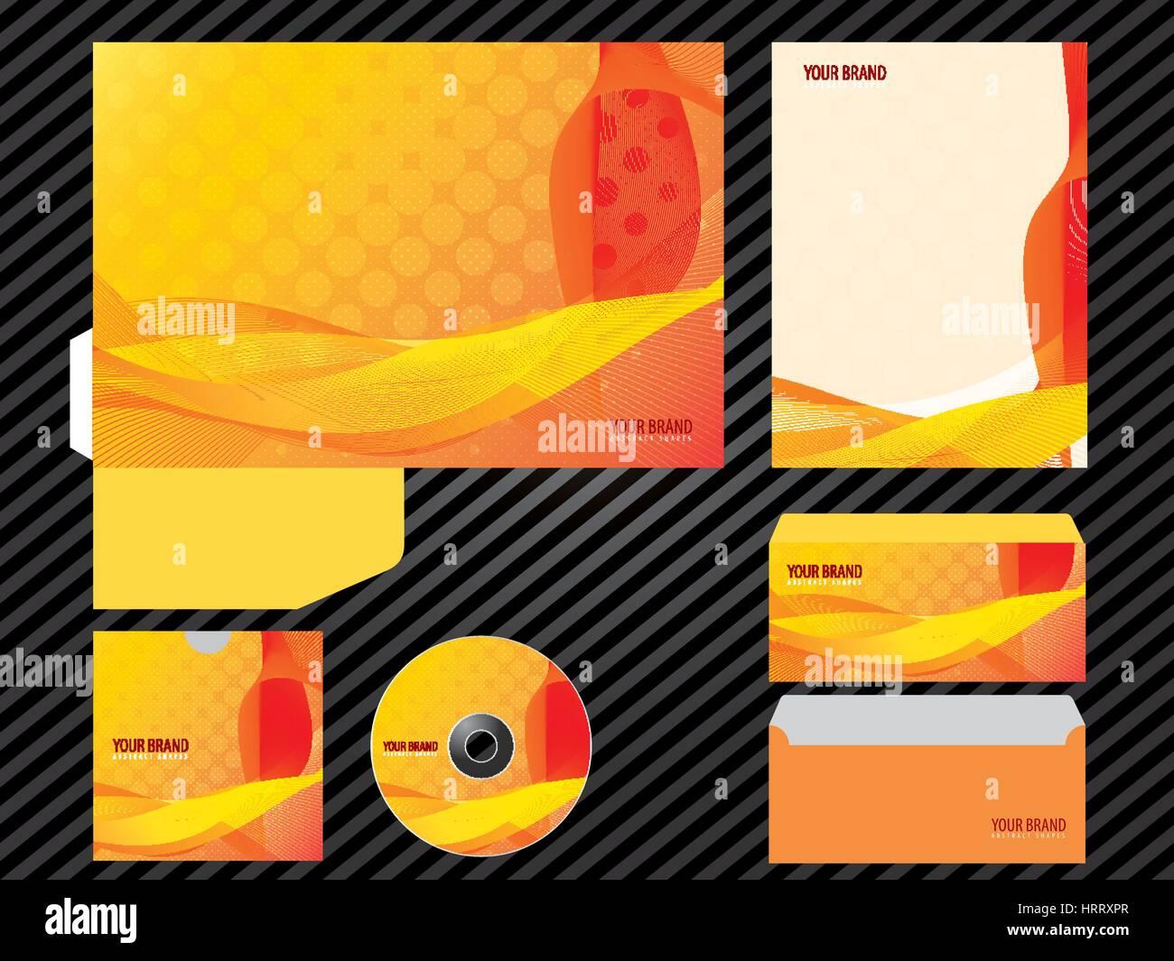 CI-Vorlage Business Design orange Farbe set Briefpapier. Ordner ...